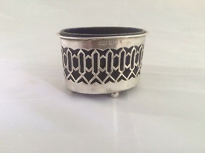 Antique  Silver Salt Pot With Blue Glass Liner  B & S 1903