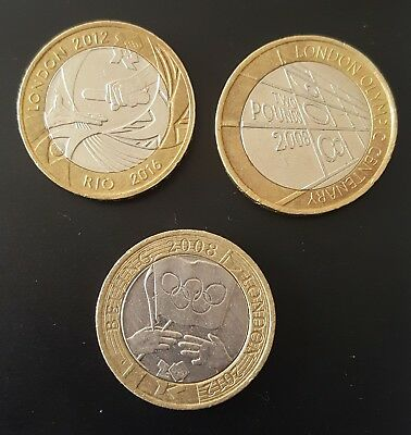 Olympic Games Set of Three £2 Two Pound Coins, inc Beijing and Rio Handovers.