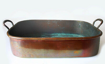 19th C. ANTIQUE COPPER LARGE ROASTING PAN, 2-HANDLED, ROLLED EDGE,DOVETAIL SEAMS