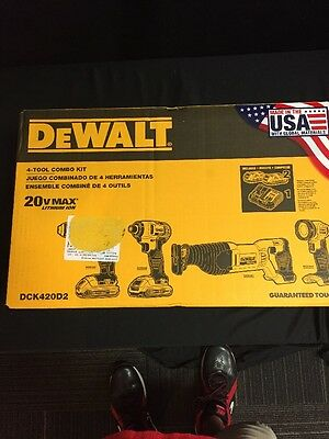 DEWALT 20-Volt MAX XR Lithium-Ion Cordless Combo Kit (4-Tool) DCK420D2 NEW