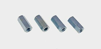 """4 Pack 5//8-11 2-1//8/"""" Long Hex Coupling Nut with Zinc Plate NCUP010C000STLZN"""