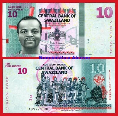 SWAZILAND 10 Emalangeni 2015 2017 NEW DESIGN Pick New  SC / UNC