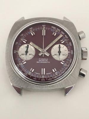 Vintage Chronograph Valjoux 7733 Stainless Steel Purple Dial