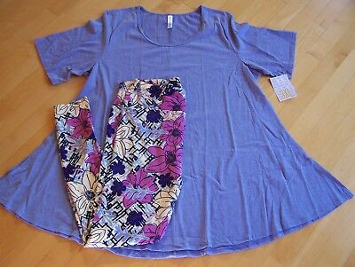 LULAROE 3XL Heahtered Lavender Perfect T & TC Leggings Outfit Set NEW NWT
