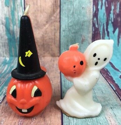 Vintage GURLEY Halloween Wax Candle LOT Ghost Pumpkin Witch Hat USA Unused