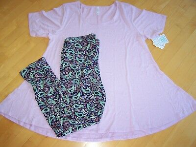 LULAROE 2XL Heahtered Pale Pink Perfect T & Paisley TC Leggings Outfit  NEW NWT