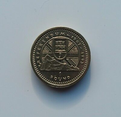 gibraltar referendum coin £1 almost mint, bearly circulated rare super shinny