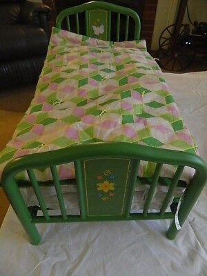Authentic American Girl Doll Kits Green Metal Trundle Bed w/Mattress and Blanket