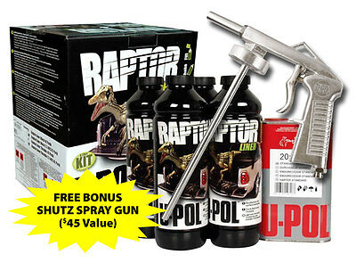 RAPTOR LINER Canadian VOC Compliant 4 Litre Kit (BLACK) with Bonus Shutz Gun
