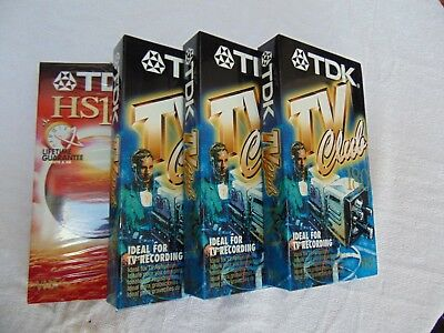 3 Blank TDK 18 TV club VHS tapes plus one  TDK HS180  - All sealed and unused