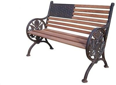 Outdoor Patio Bench Chair Furniture Seat Solid Cast Iron And Wood Lightweight