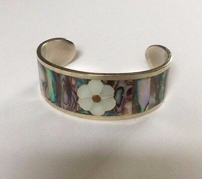 Vintage Abalone Cuff marked Mexico