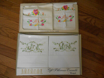 Vintage 2 Sets Embroidered Mr And Mrs Pillow Cases Reigel-Pennicraft In Boxes