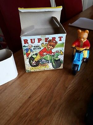 Rupert The Bear Friction drive Scooter 1973 MARX TOYS in box Looks unused