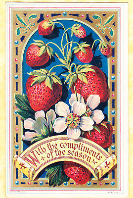 Victorian  Card, Strawberries With Gilt Border, Marcus Ward