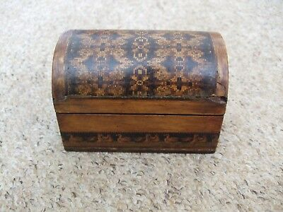 Antique Tunbridge Ware Domed Shaped Wooden Box Depicting Ducks.