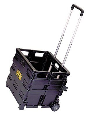 Lightweight Folding Portable Rolling Tool Carrier Cart w/ Telescope Handle Black