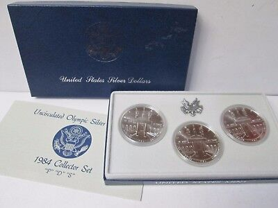 1984 US Olympic P D S Mint 3 Coin Uncirculated Silver Dollar Commemorative Set