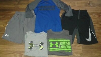 Boys (Xs-S) Very Nice- Lot Of 5- Under Armour & Nike Dri Fit- Shorts & Shirts