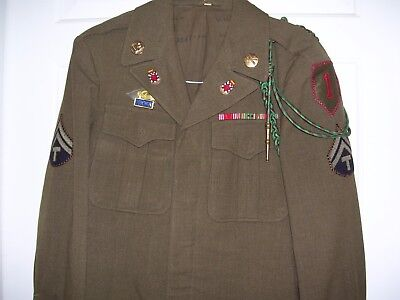 Nice ID'd WWII 1st Division 32nd Artillery Uniform with Theater Made DIs