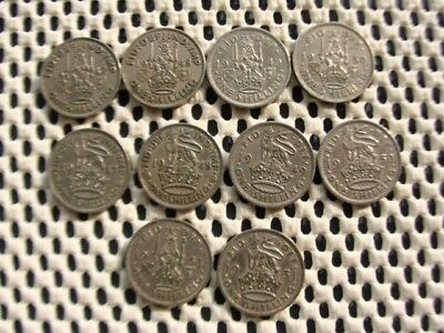 George VI. SHILLING  Eng & Scot  1947, 1948, 1949, 1950, 1951. (10 coins).
