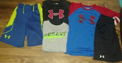 Boys (M-L) Nice- Lot Of 5- Under Armour & Nike- Athletic Shorts & Shirts
