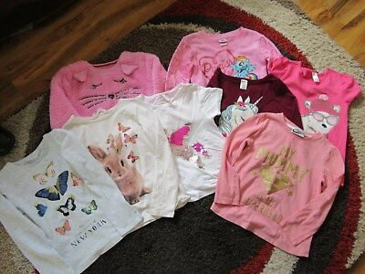 Collection of 8 EIGHT GIRLS TOPS Ages 5-6 Years Pink, Cream Bear, Love Hearts...