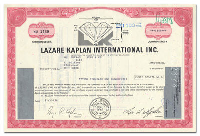 Lazare Kaplan International Inc. Stock Certificate (Cut Diamond Vignette)