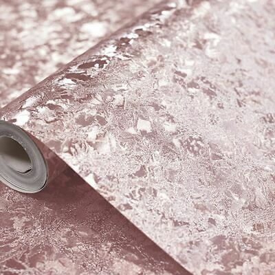Velvet Crush Foil Rose Gold Textured Vinyl Reflective Feature Wallpaper 294300