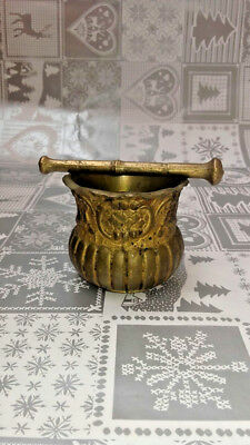 old Small antique brass mortar and pestle bronze pharmaceutique hand carved