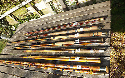 Collection of 7 Old Fishing Rods In Need Of Restoration