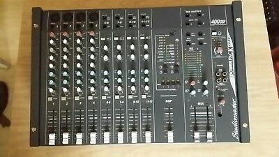 PA System.  Studiomaster powered mixer.   Speakers.  Stands.  Mics.  Leads.