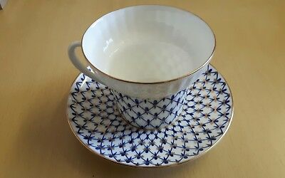 Russian Porcelain Hand Painted  Cup and Saucer