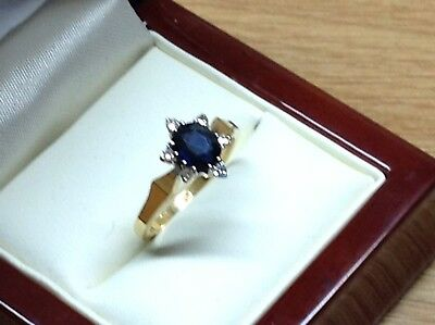 18Ct Gold Diamond And Sapphire Ring, Size N