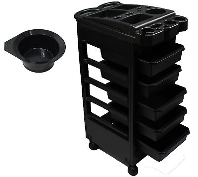 Black Rolling Trolley Cart Tray Dentist Doctor Tattoo Spa Beauty Salon Equipment