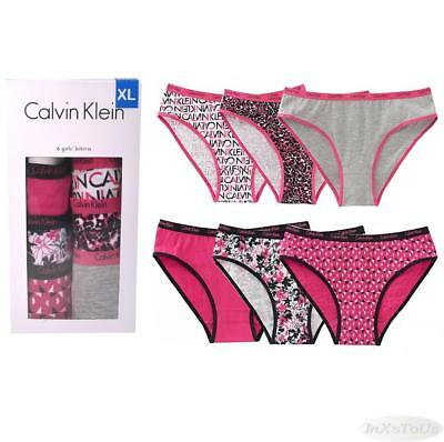 6 Pr Calvin Klein Girls Cotton Stretch Bikini Panty Pink Black Open Pkg S-XL