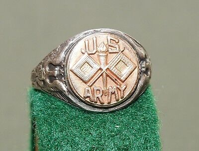 """US Army WW2 SIGNAL CORPS STERLING SILVER + GOLD FILLED """"CROSSED FLAGS"""" RING Vtg"""