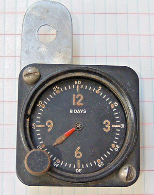 Vintage Bulova 8 Days 21AE USA Aircraft Clock for Parts Repair Instrument