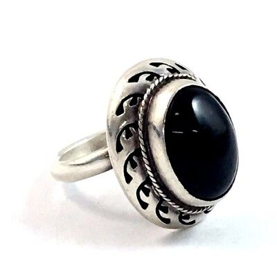 Large Sterling Silver Onyx Mexican Adjustable Ring 15.6 Grams