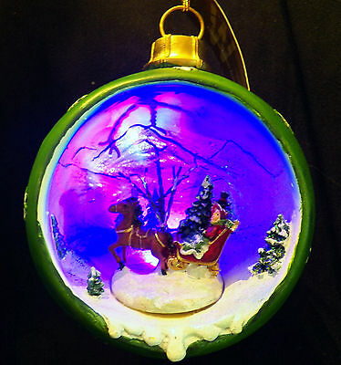 Winward Holiday Christmas Ornament Diorama LED Color Changing Lights Sleigh Ride