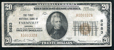 1929 $20 The First National Bank Of Farmville, Va National Currency Ch. #5683