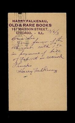 "1903 Chicago Booksellers postalcard ""Harry Falkenau Old & Rare Books"" Madison St"