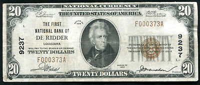 1929 $20 The First National Bank Of De Ridder, La National Currency Ch. #9237