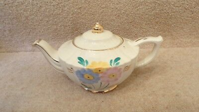 VINTAGE SADLER TEAPOT Cream with Painted Flowers and Gold