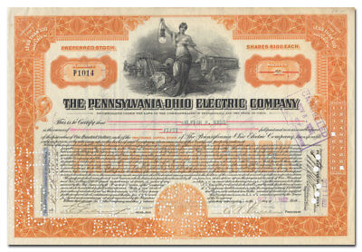 Pennsylvania - Ohio Electric Company Stock Certificate