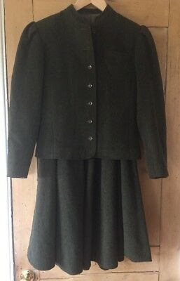 Vintage Retro Dark Green Wool Country Suit Full Skirt Cropped Jacket Small Size