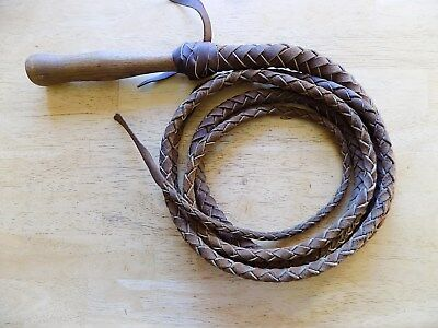 VINTAGE WOOD HANDLED 11 ft. BRAIDED LEATHER BULL WHIP