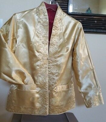 Authentic Chinese Women's Silk Reversible Dressy Gold / Red Jacket NEW size 6/8