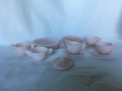 Akro Agate Child's Small Interior Panel Pink Luster Tea Set & Bowls 16 Pieces