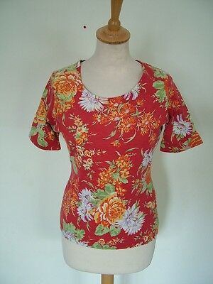 Vintage 80s Laura Ashley fitted jersey t-shirt top, S